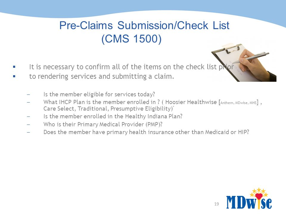 Pre-Claims Submission/Check List (CMS 1500)