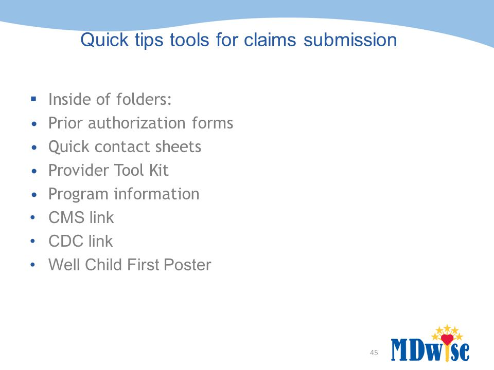 Quick tips tools for claims submission