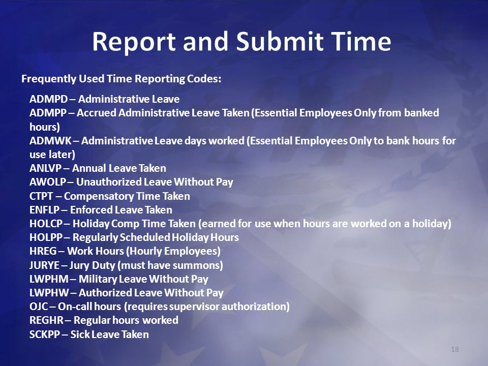 Report and Submit Time Frequently Used Time Reporting Codes: