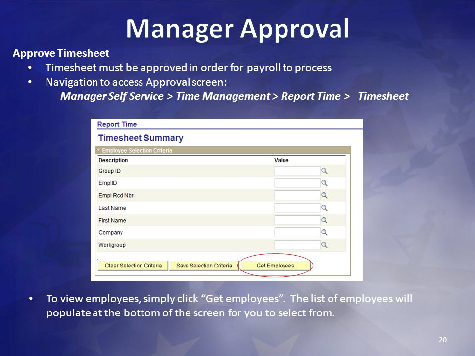 Manager Approval Approve Timesheet