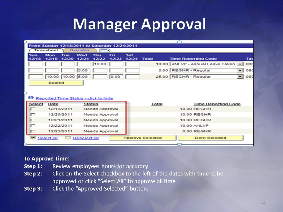 Manager Approval To Approve Time: