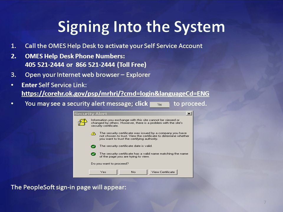 Signing Into the System