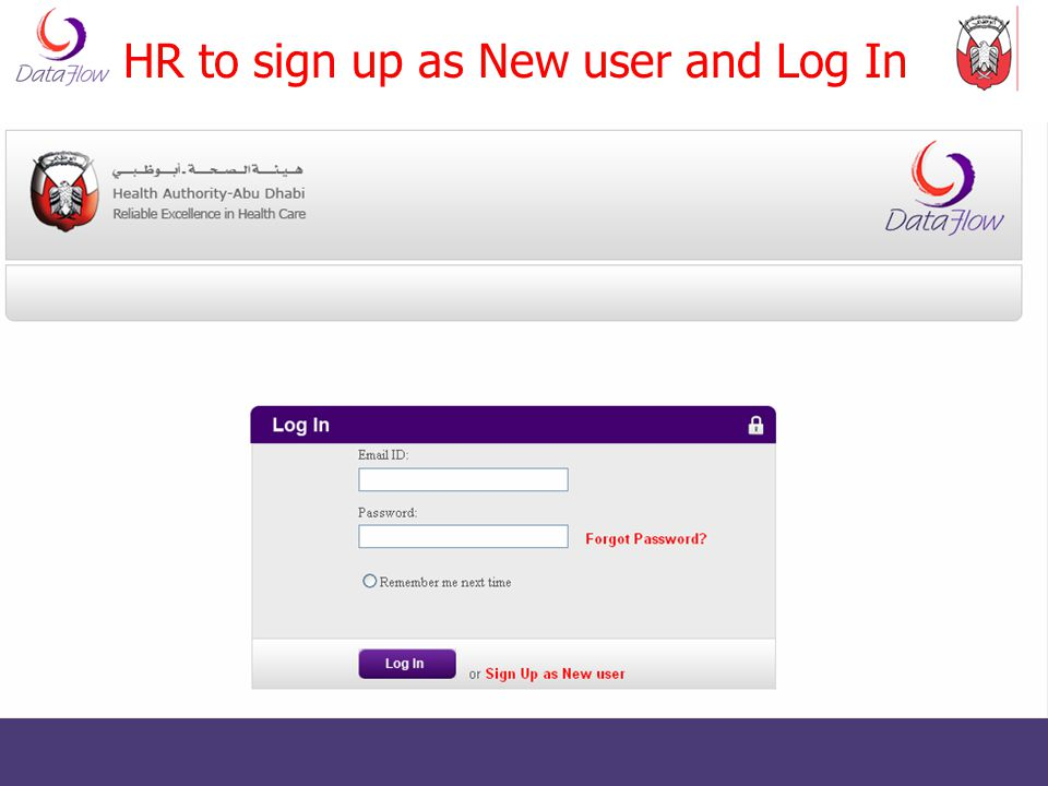 HR to sign up as New user and Log In