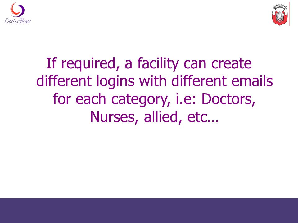 If required, a facility can create different logins with different  s for each category, i.e: Doctors, Nurses, allied, etc…