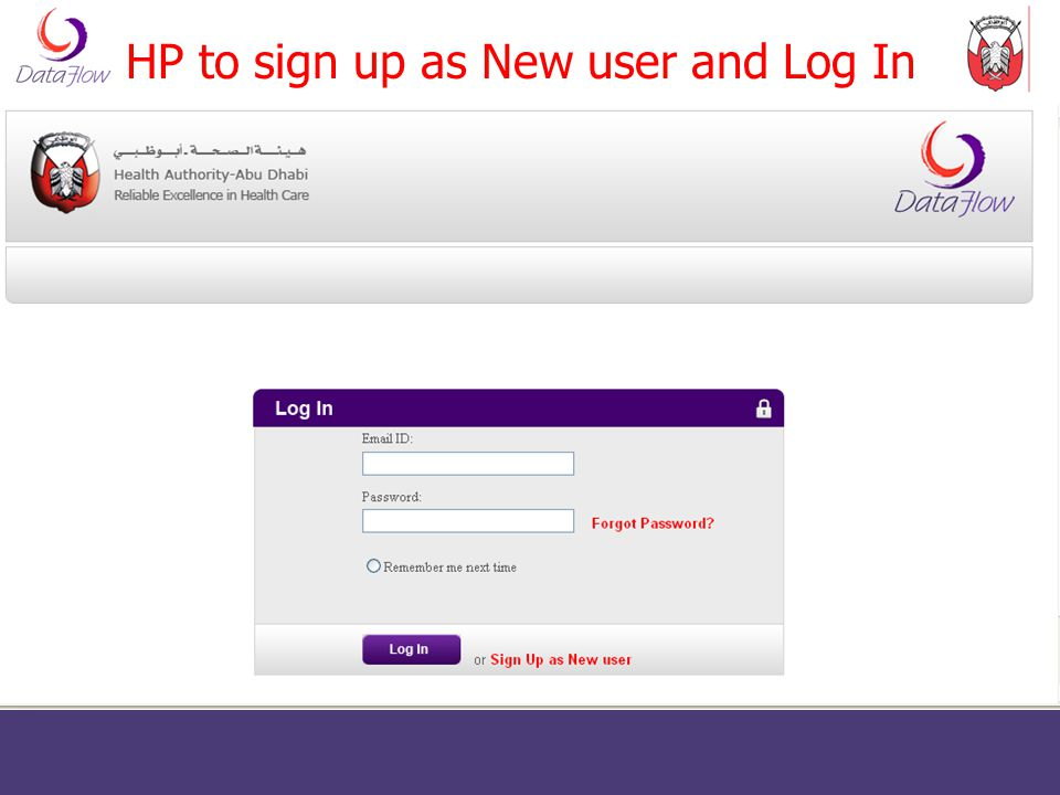 HP to sign up as New user and Log In