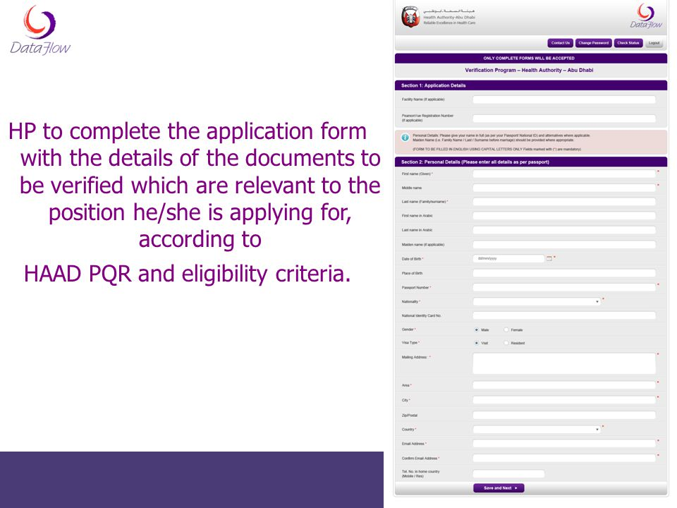 HAAD PQR and eligibility criteria.