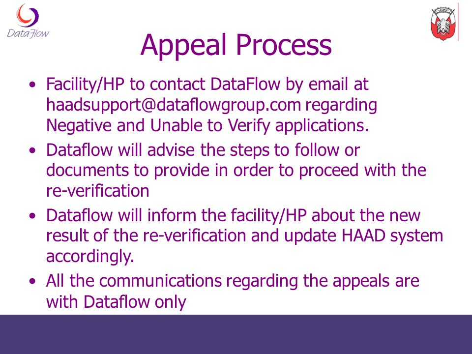 Appeal Process Facility/HP to contact DataFlow by email at haadsupport@dataflowgroup.com regarding Negative and Unable to Verify applications.