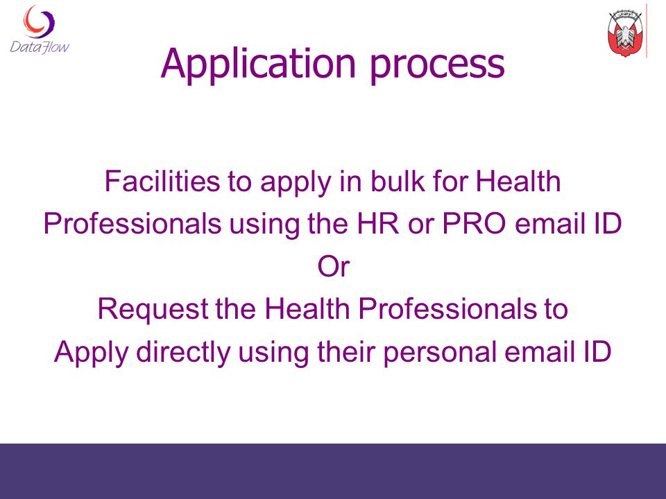 Application process Facilities to apply in bulk for Health