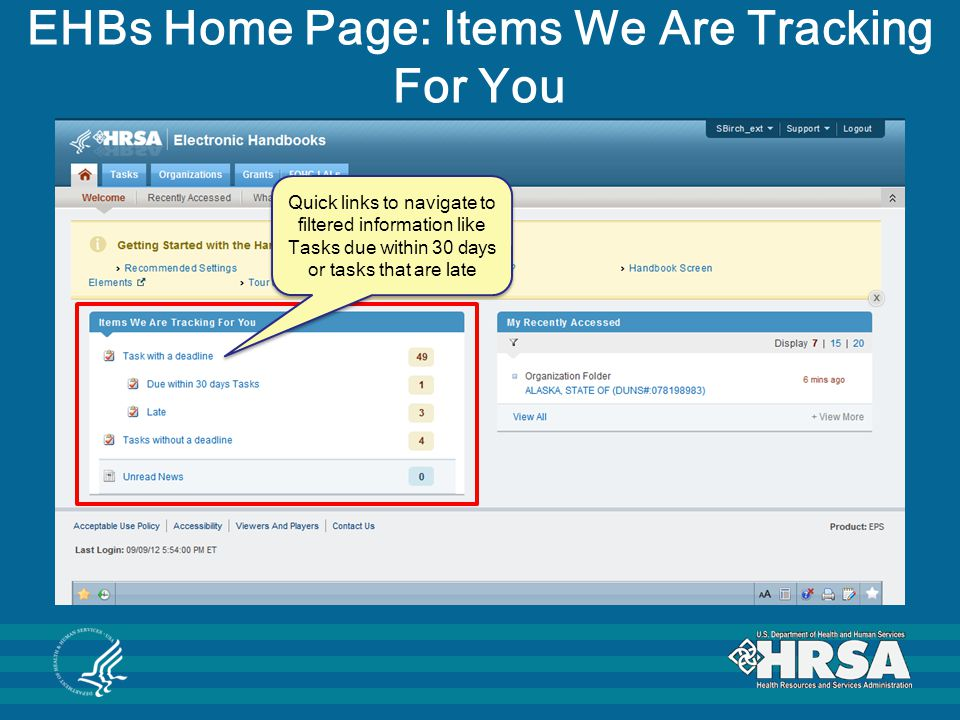 EHBs Home Page: Items We Are Tracking For You