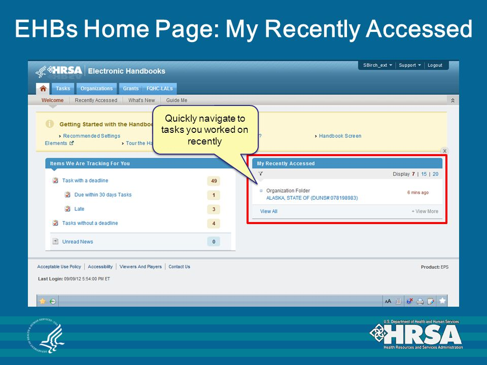 EHBs Home Page: My Recently Accessed