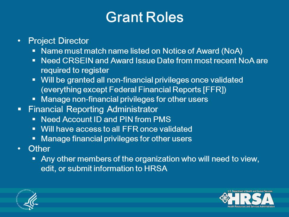 Grant Roles Project Director Financial Reporting Administrator Other