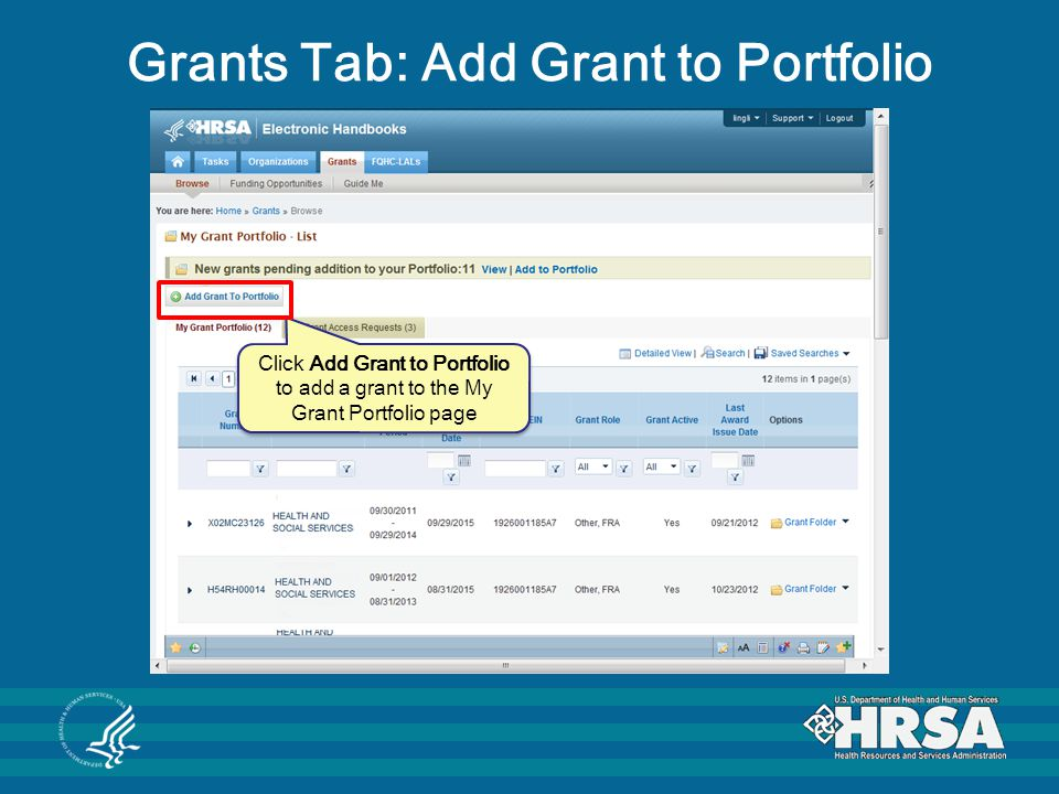 Grants Tab: Add Grant to Portfolio