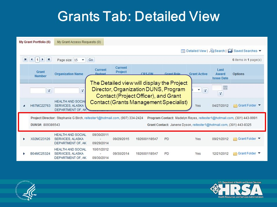 Grants Tab: Detailed View
