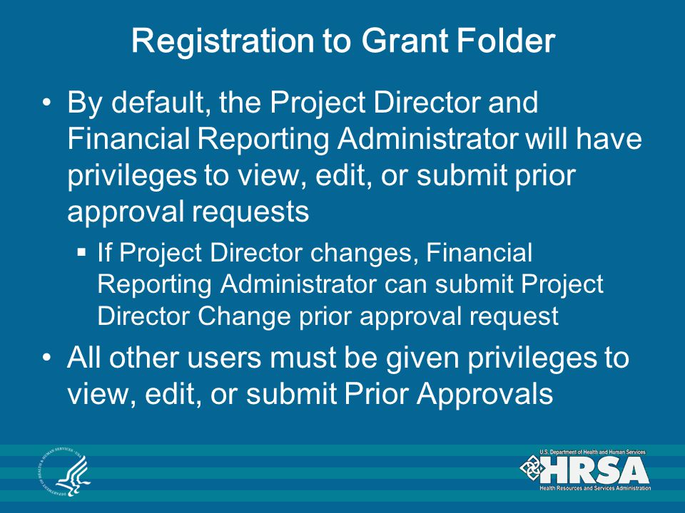 Registration to Grant Folder