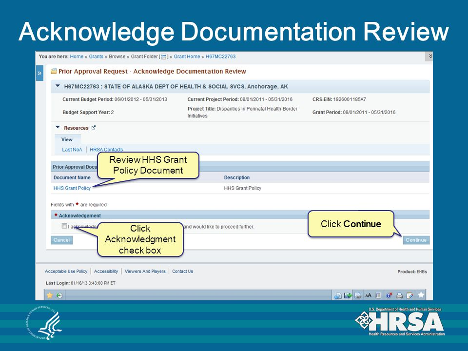 Acknowledge Documentation Review