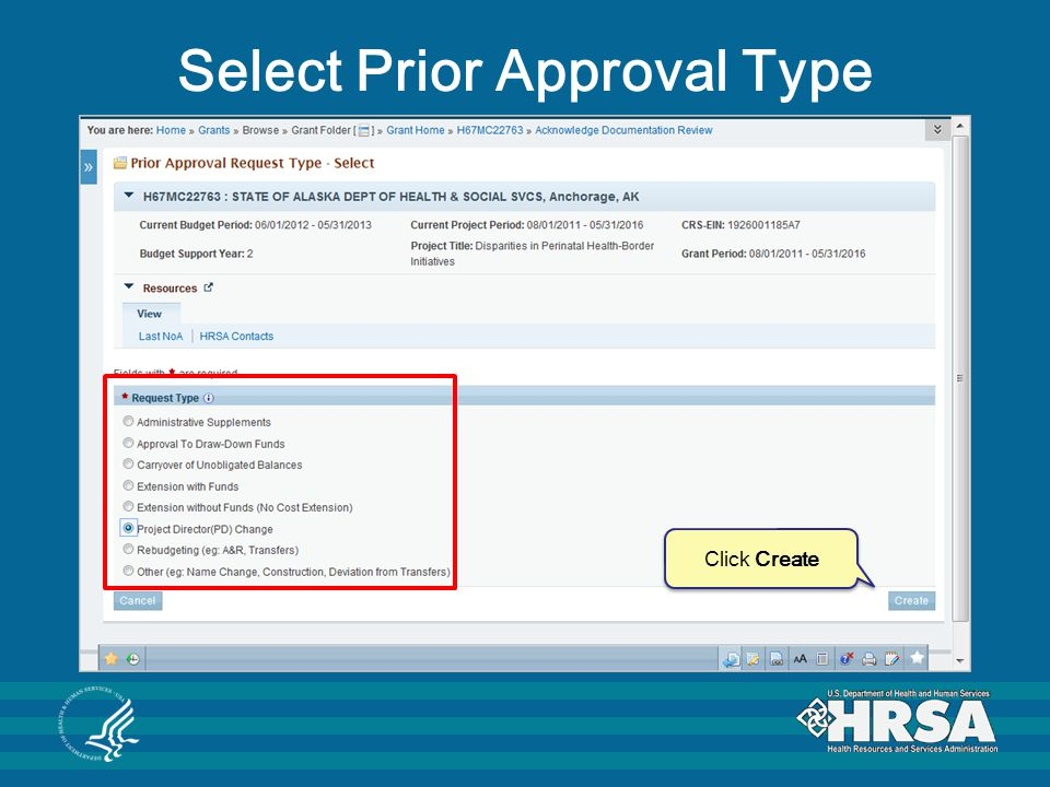 Select Prior Approval Type