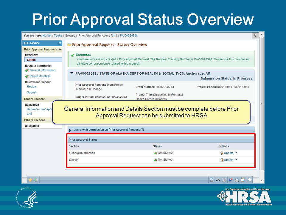 Prior Approval Status Overview