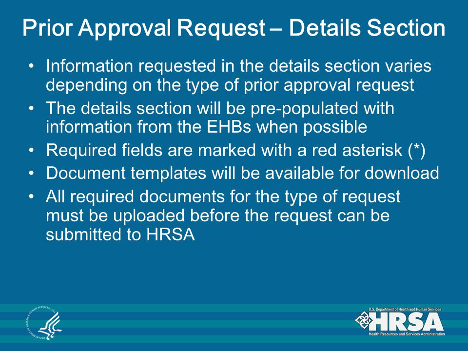 Prior Approval Request – Details Section