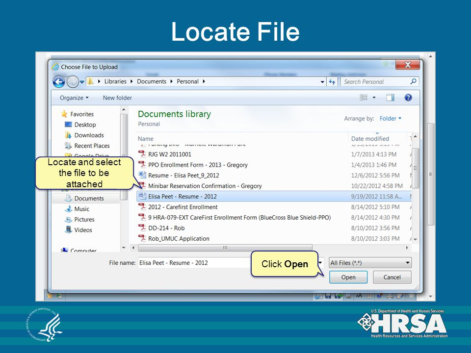 Locate and select the file to be attached