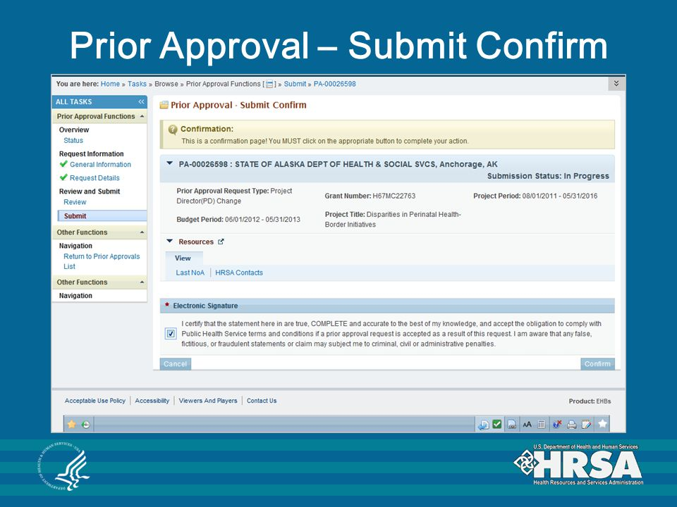Prior Approval – Submit Confirm