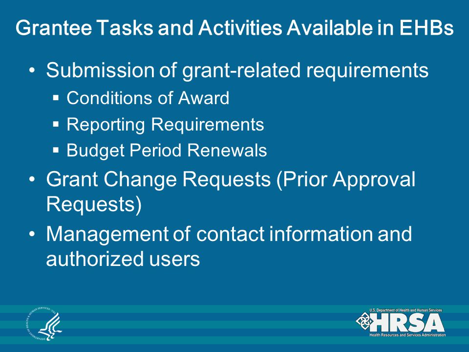 Grantee Tasks and Activities Available in EHBs