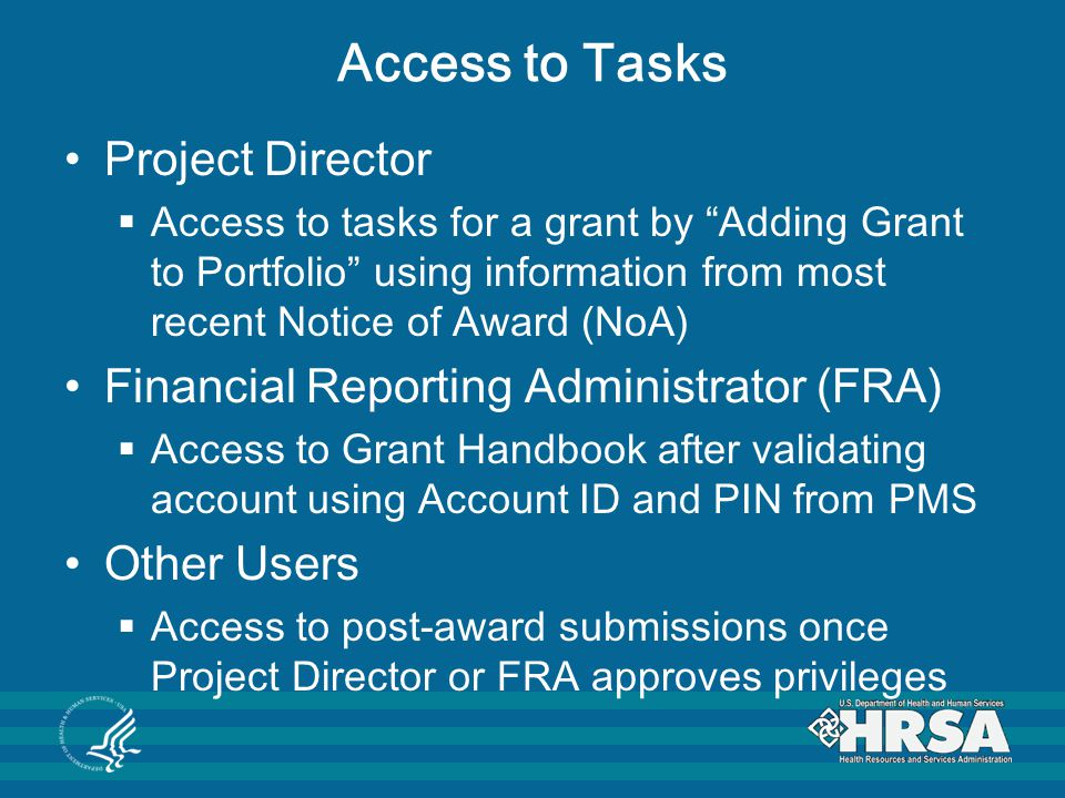 Access to Tasks Project Director