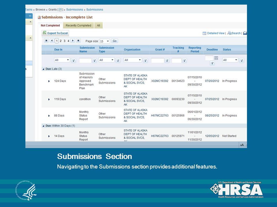 Submissions Section Navigating to the Submissions section provides additional features.