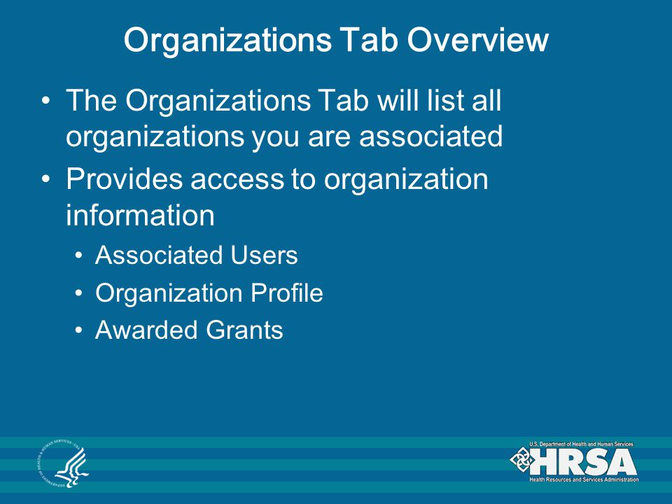 Organizations Tab Overview
