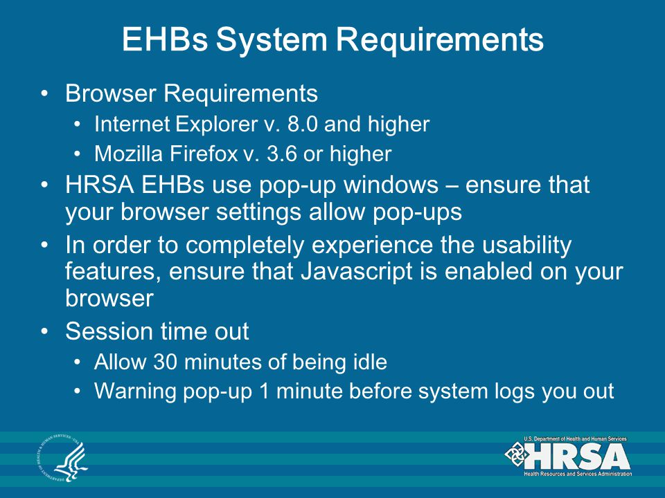 EHBs System Requirements