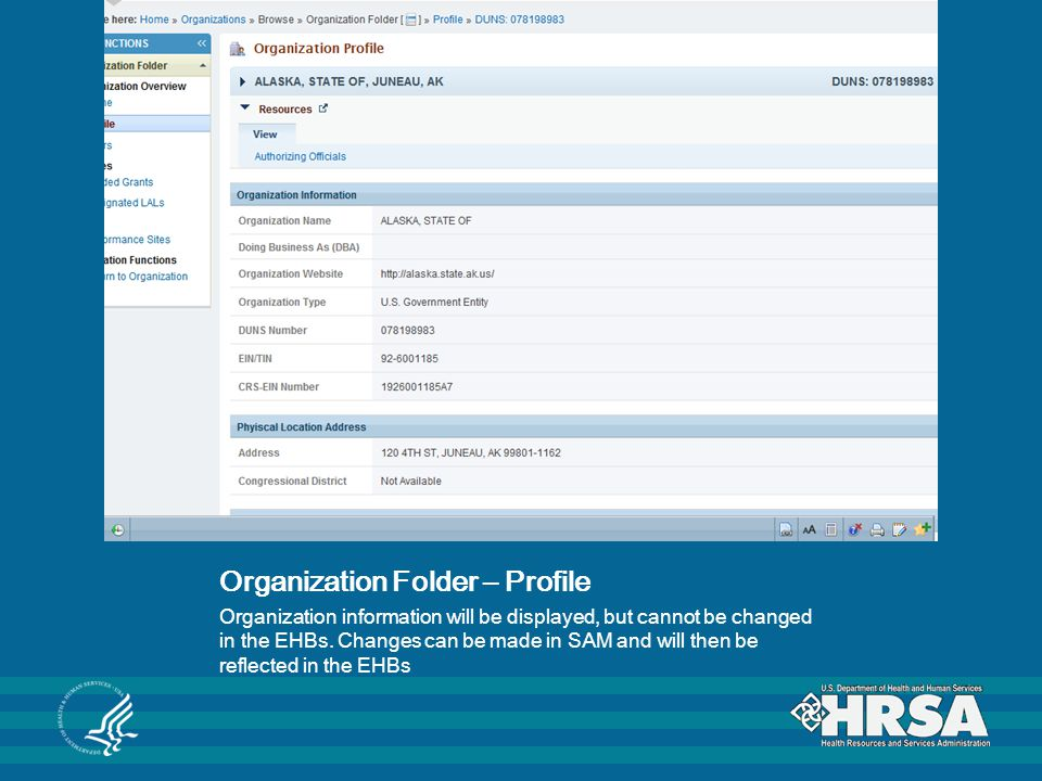 Organization Folder – Profile