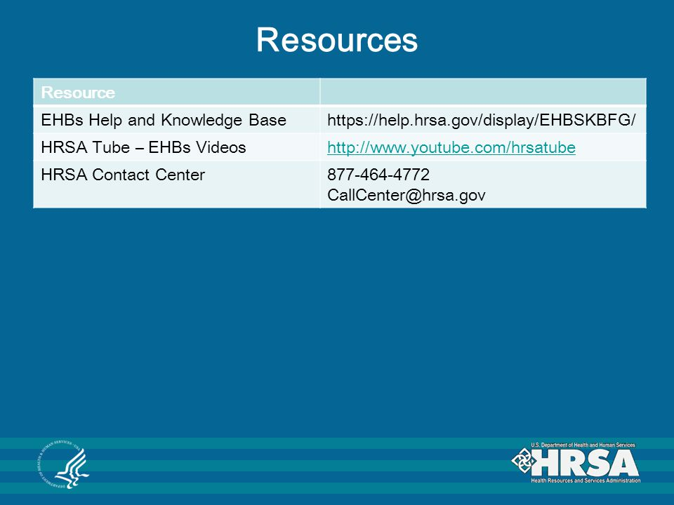 Resources Resource EHBs Help and Knowledge Base
