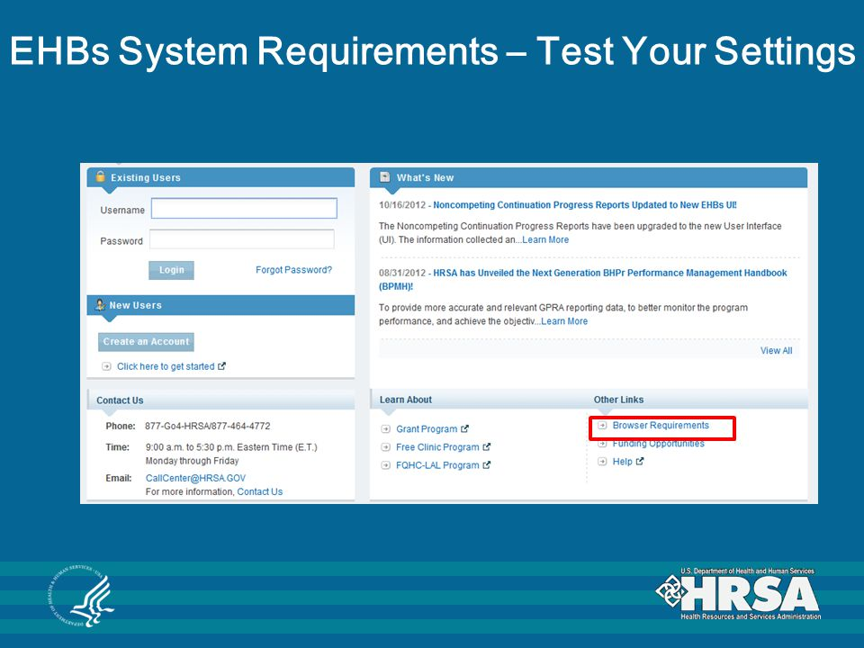 EHBs System Requirements – Test Your Settings