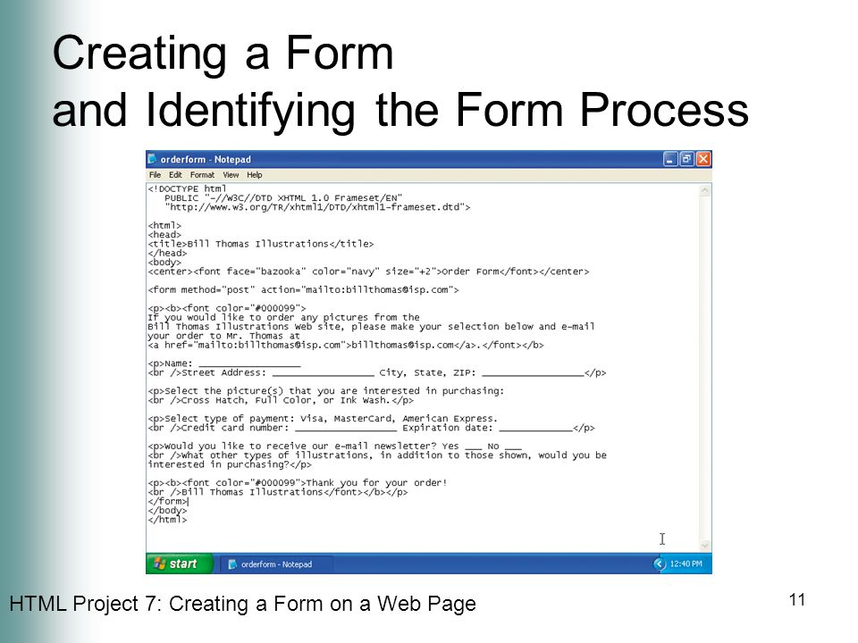 Creating a Form and Identifying the Form Process