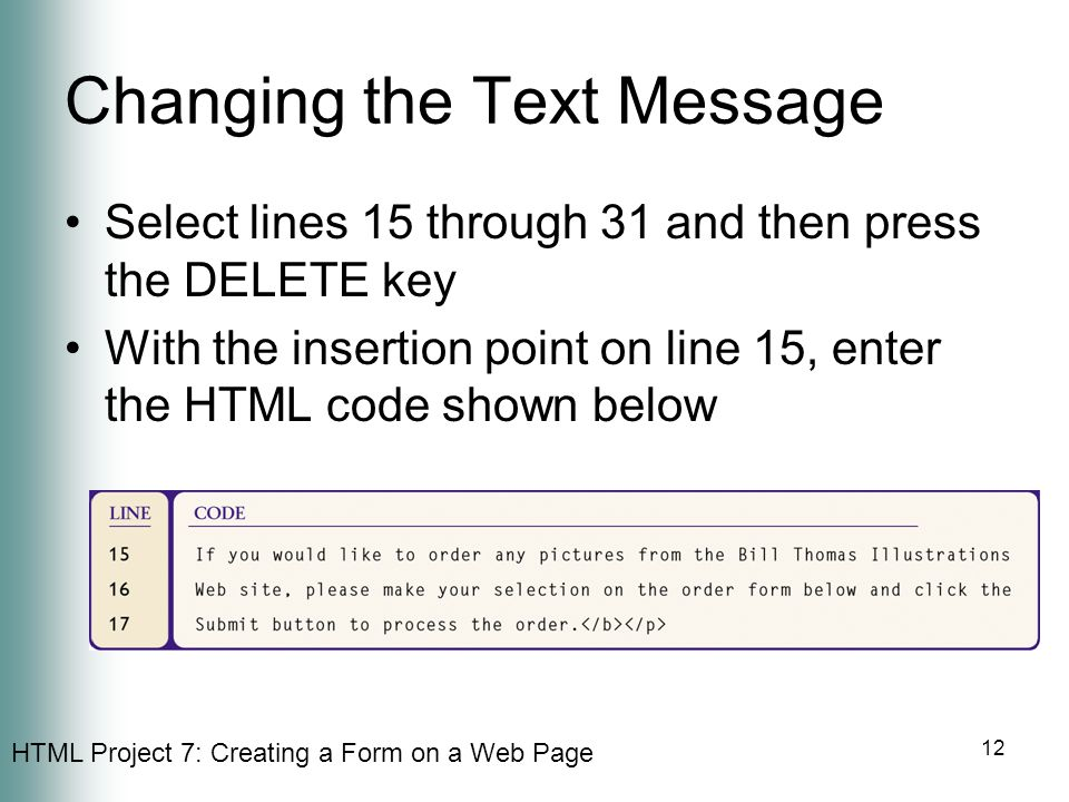 Changing the Text Message