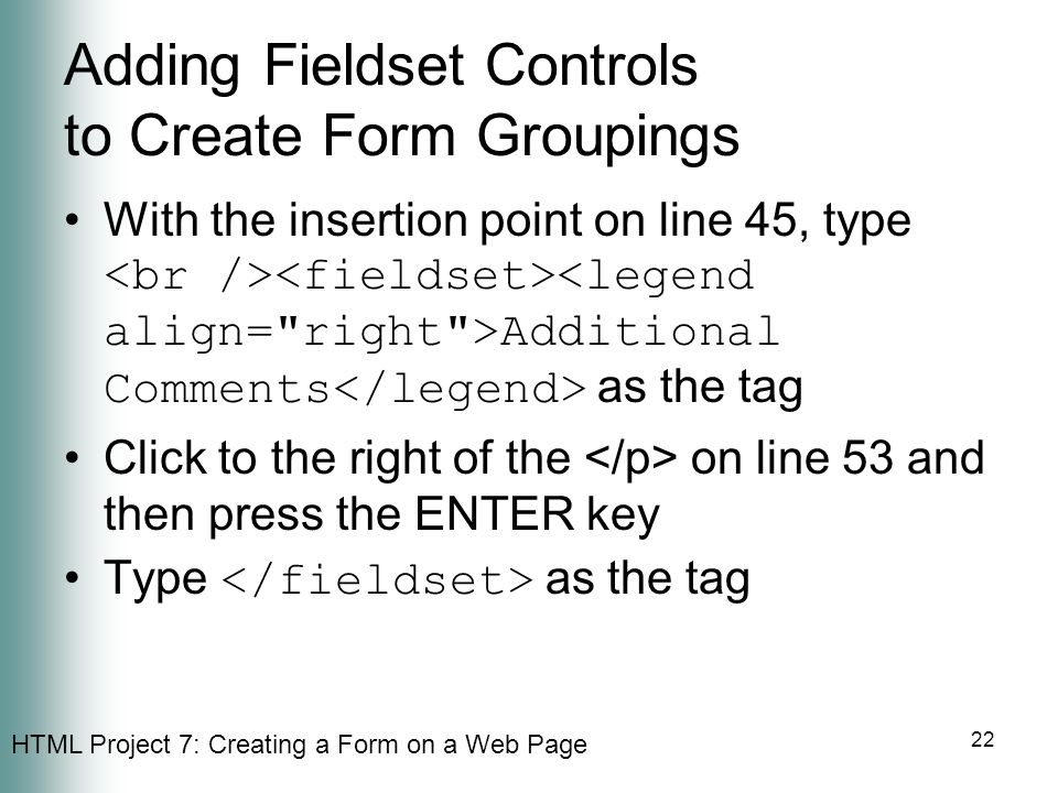 Adding Fieldset Controls to Create Form Groupings