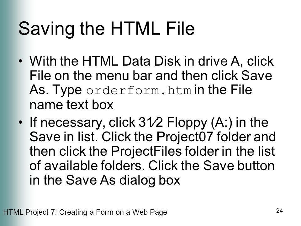 Saving the HTML File