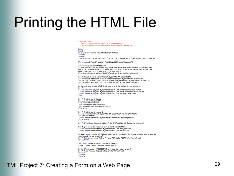 Printing the HTML File