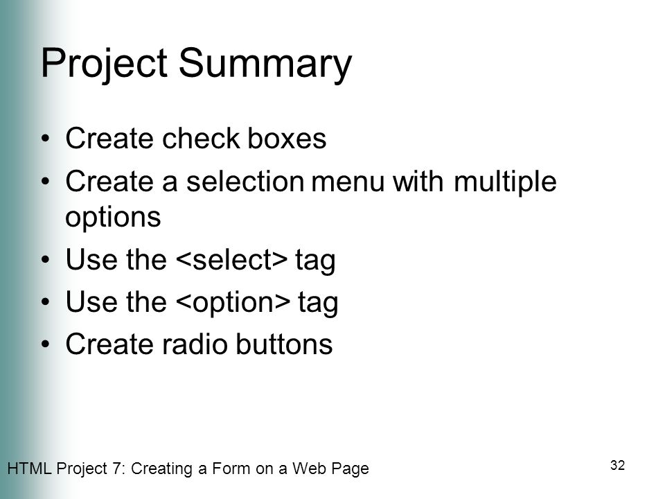 Project Summary Create check boxes