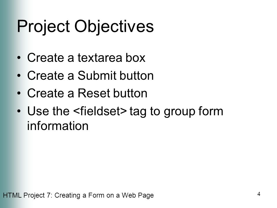 Project Objectives Create a textarea box Create a Submit button