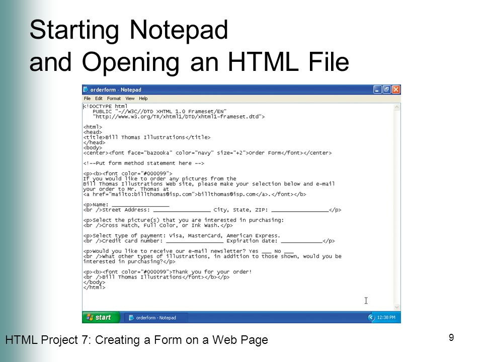 Starting Notepad and Opening an HTML File