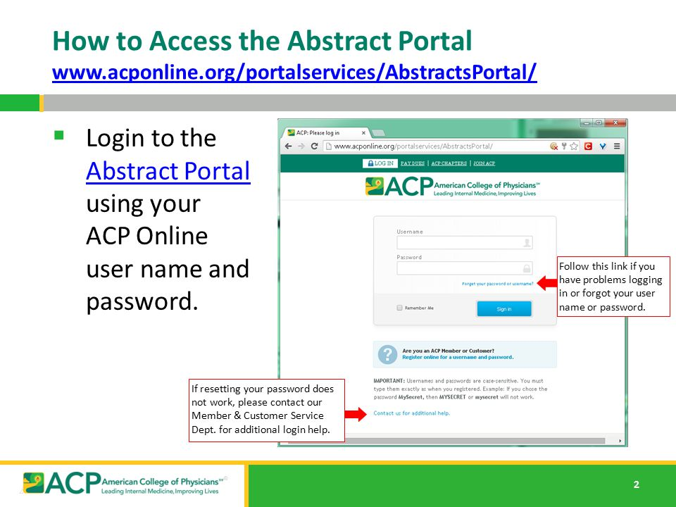 How to Access the Abstract Portal www. acponline