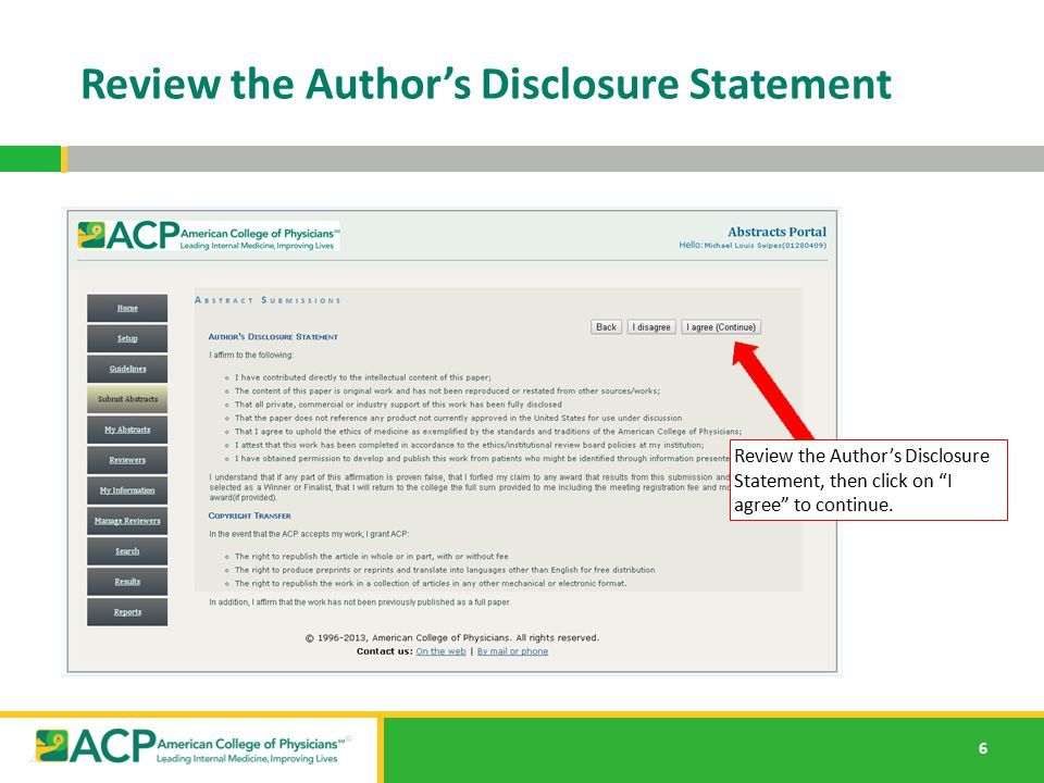 Review the Author's Disclosure Statement