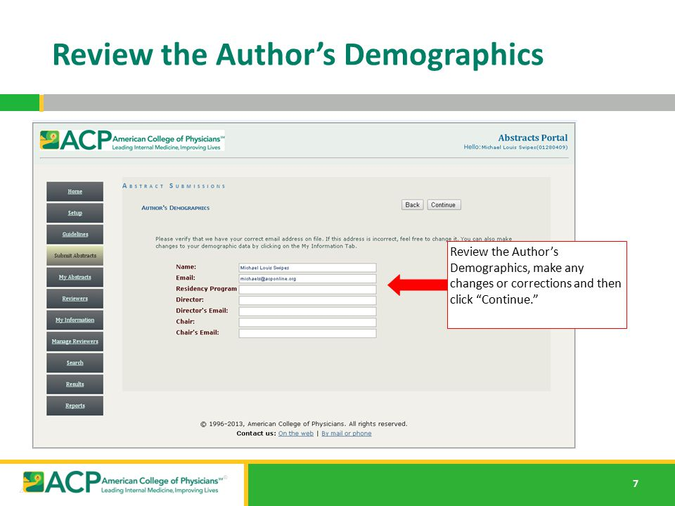 Review the Author's Demographics