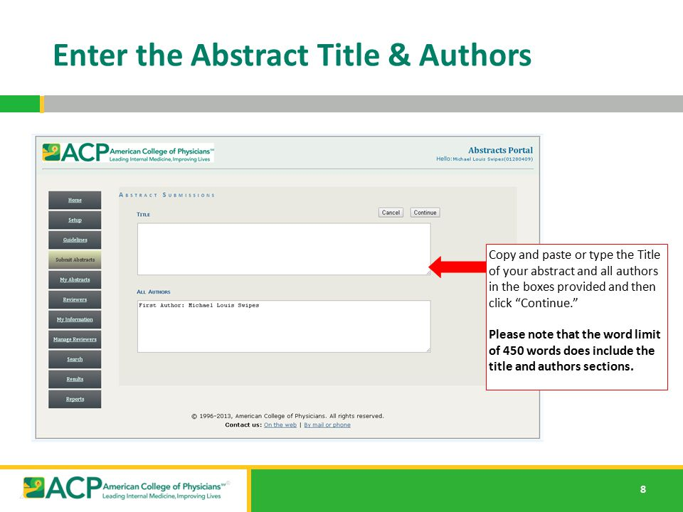 Enter the Abstract Title & Authors