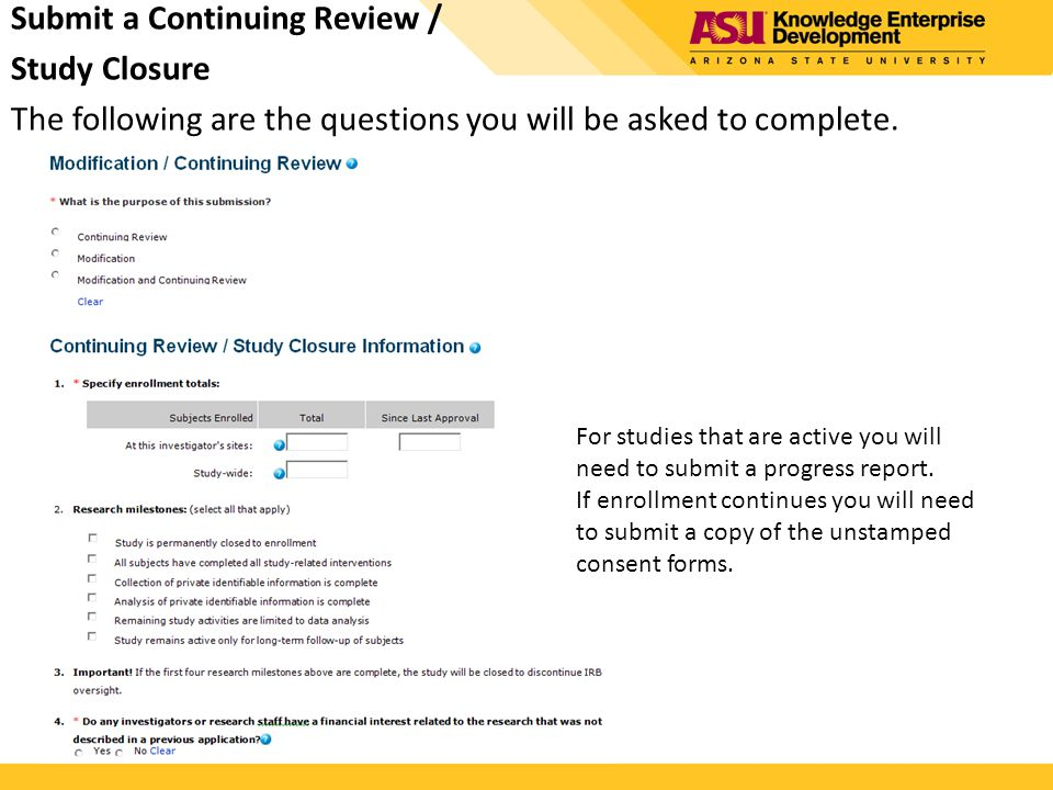 Submit a Continuing Review / Study Closure