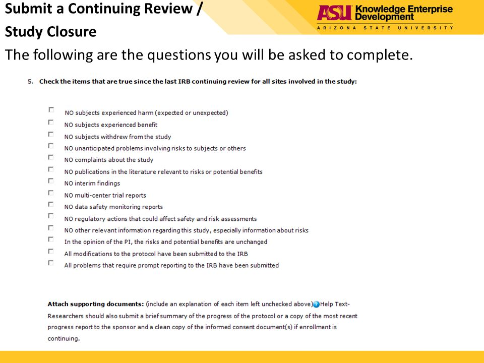 Submit a Continuing Review /