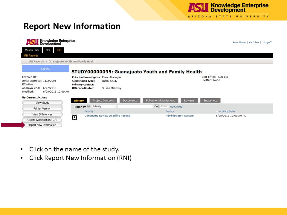 Report New Information