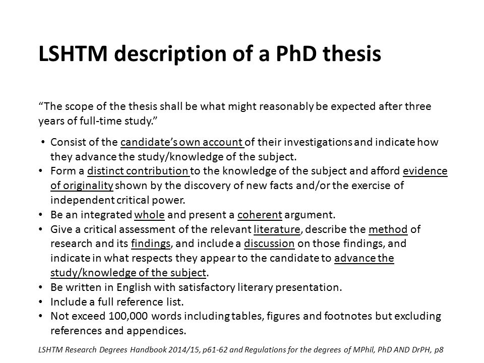 LSHTM description of a PhD thesis