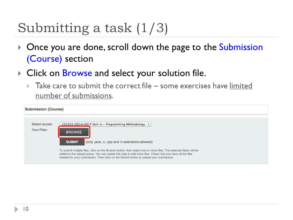 Submitting a task (1/3) Once you are done, scroll down the page to the Submission (Course) section.