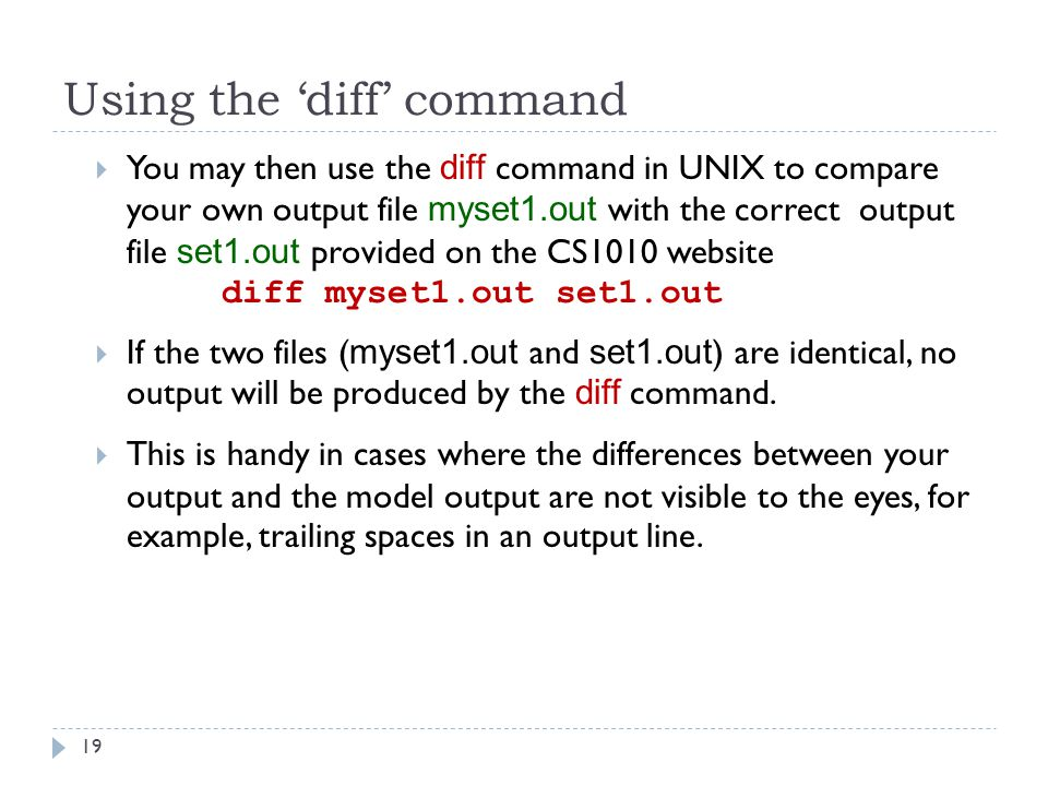 Using the 'diff' command